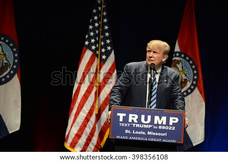 Saint Louis, MO, USA - March 11, 2016: Donald Trump reacts to heckler at the Peabody Opera House in Downtown Saint Louis. - stock photo