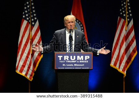Saint Louis, MO, USA - March 11, 2016: Donald Trump speaks to supporters at the Peabody Opera House in Downtown Saint Louis - stock photo