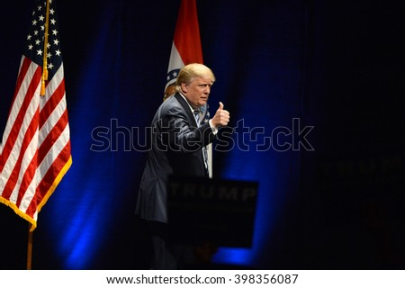 Saint Louis, MO, USA - March 11, 2016: Donald Trump talks to supporters at the