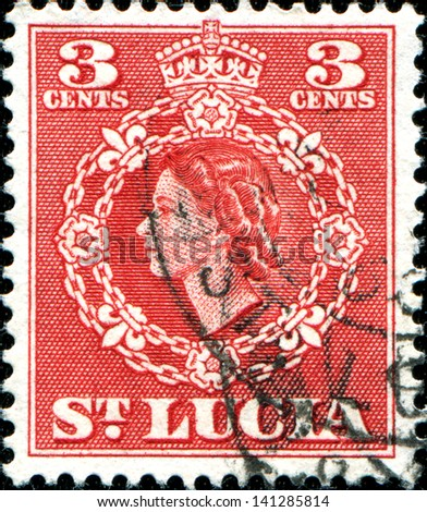 SAINT LUCIA - CIRCA 1953: A stamp printed in Saint Lucia shows  Queen Elizabeth II, circa 1953 - stock photo