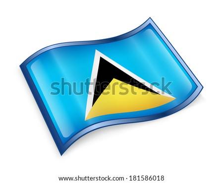 Saint Lucia flag icon, isolated on white background - stock photo