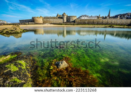 Saint Malo beach during Low Tide. Brittany,Brittany, France - stock photo