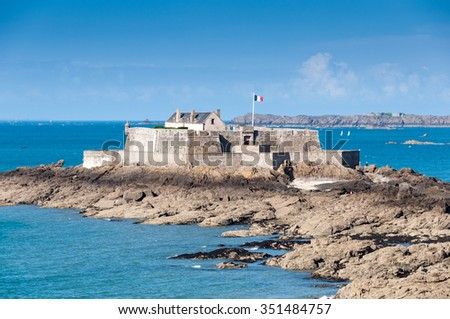 Saint Malo, Fort National and beach during hight tide. Brittany, France, Europe.