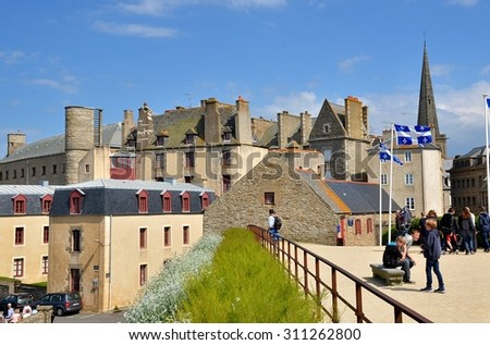 SAINT MALO, FRANCE - MAY 30: View on the ancient village of Saint Malo, old traditional houses and its roofs. Saint Malo, France - May 30, 2014 - stock photo