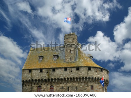 Saint-Malo-- is a walled port city in Brittany in northwestern France on the English Channel. It is a sub-prefecture of the Ille-et-Vilaine - stock photo