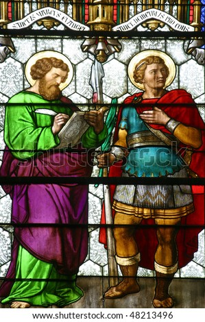 Saint Mark and Saint Demetrius, stained glass in Zagreb cathedral