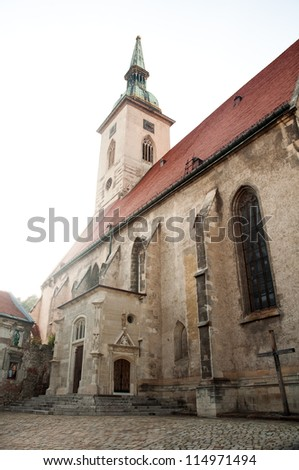 Saint Martin cathedral in Old Town of Bratislava in Slovakia - stock photo