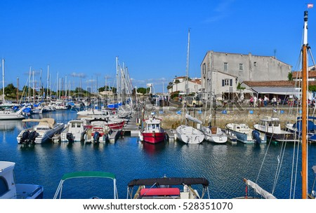 Saint Martin de Re, France - september 25 2016 : the picturesque village and boats in the port