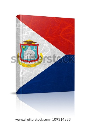 Saint Martin flag book. Mulberry paper on white background.