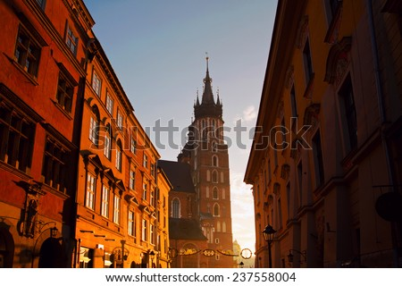 Saint Mary Basilica and Florianska street in Krakow - stock photo