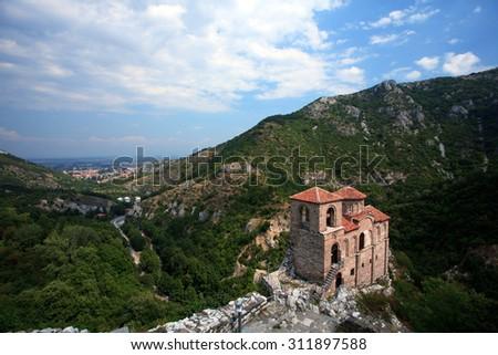 Saint Mary church at Asen's Fortress near Asenovgrad, Bulgarian Rhodope mountains  - stock photo