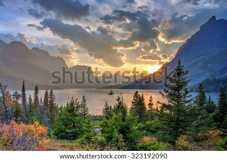 Saint Mary Lake and Wild Goose Island, Glacier National Park, Montana, America - stock photo