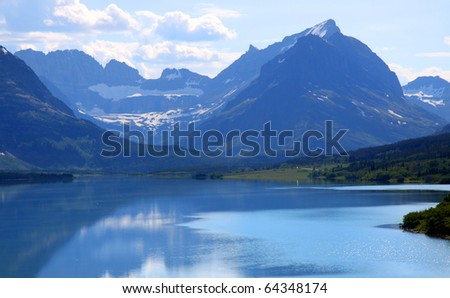 Saint Mary lake in Glacier natiional park shoot in the morning time - stock photo
