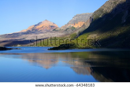 Saint Mary lake in Glacier natiional park shot in the morning time - stock photo