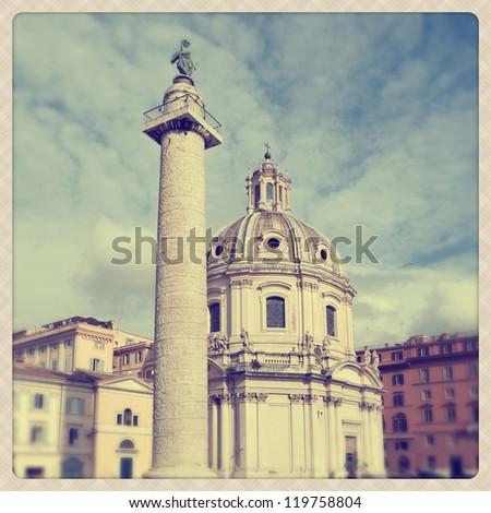 Saint Mary of Loreto in Plaza Venezia Rome, Italy - stock photo