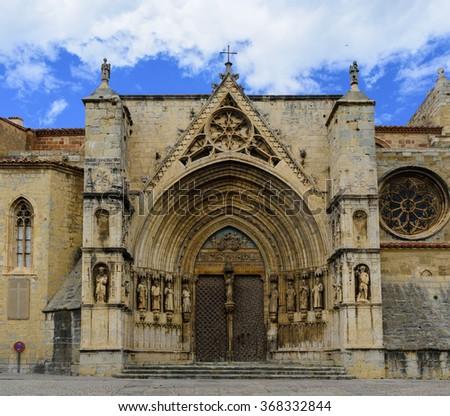 Saint Mary's Church Gothic Door of the Apostles (14th century) in Morella. Els Ports, Castellon province, Comunidad Valenciana, Spain. - stock photo
