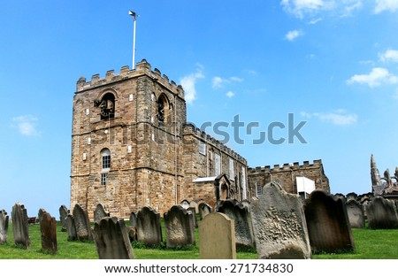 Saint Marys church in Whitby, North Yorkshire, England. - stock photo