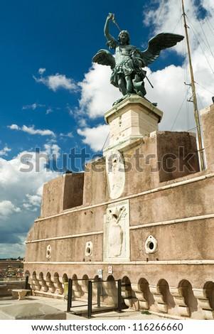 Saint Michael statue at top of Castel Sant'Angelo, Rome - stock photo