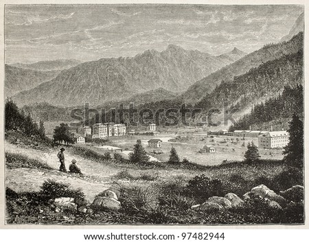 Saint-Moritz old view, Engandine valley, Switzerland. Created by De Bar and Sargent, published on Magasin Pittoresque, Paris, 1882 - stock photo