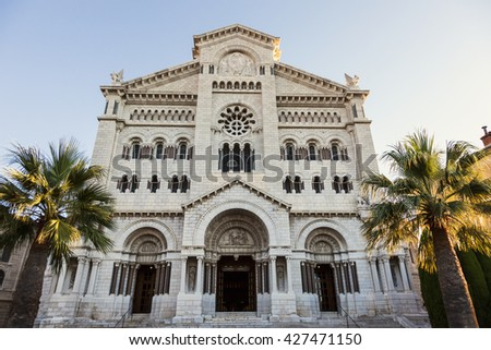 Saint Nicholas Cathedral - Monaco Cathedral. Monaco-Ville, Monaco. - stock photo