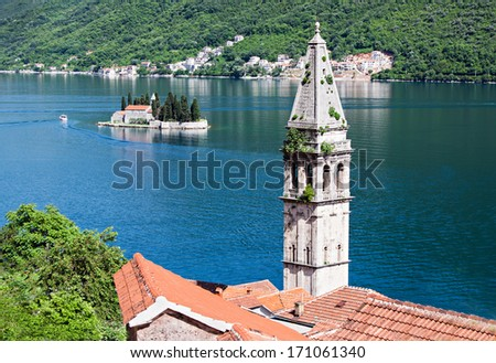 Saint Nikola Church in Perast, Kotor harbor, Montenegro - stock photo