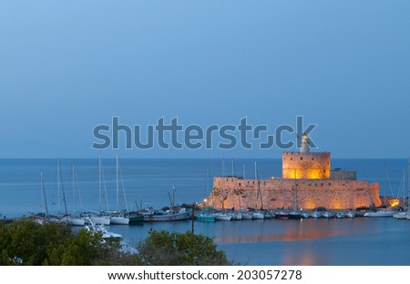 Saint Nikolaos fortress at Rhodes island in Greece - stock photo