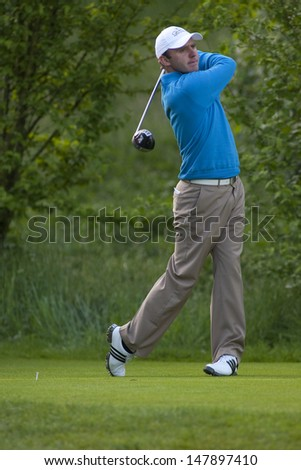 SAINT-OMER, FRANCE. 17-06-2010, Colm Moriarty (IRL) on the first day of the European Tour, 14th Open de Saint-Omer, part of the Race to Dubai tournament and played at the AA Saint-Omer Golf Club . - stock photo