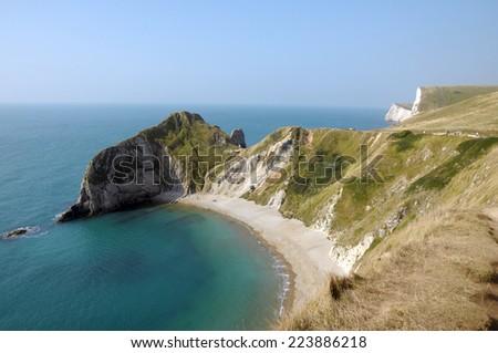 Saint Oswalds Bay on Jurassic Coast of Dorset - stock photo