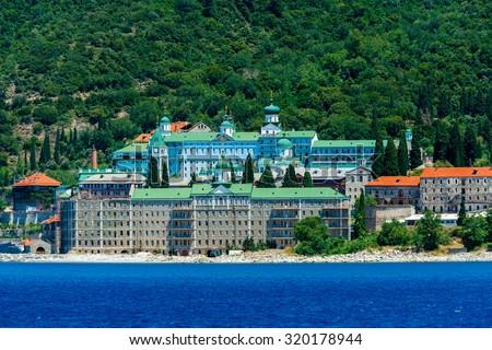 Saint Panteleimon Monastery, Athos Peninsula, Mount Athos, Chalkidiki, Greece - stock photo