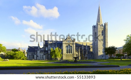 Saint Patrick Cathedral Dublin Ireland. Ultra wide field of view showing entire architecture - stock photo