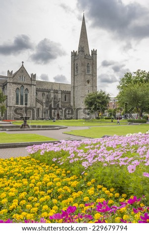 Saint Patrick Cathedral Garden in Dublin, Ireland - stock photo