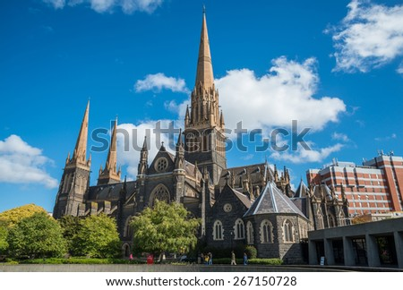 Saint Patrick cathedral the biggest church in Melbourne, Australia. - stock photo