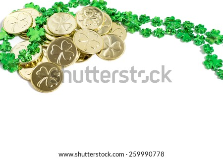 Saint Patrick's Day decorations on a white background - stock photo