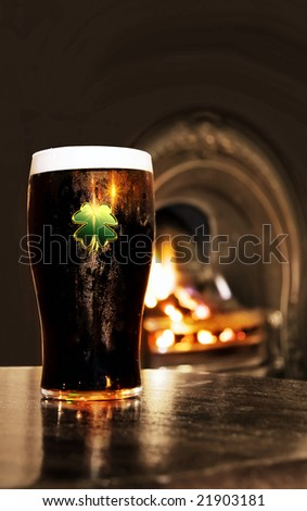 Saint Patrick's Day Irish black beer in Dublin pub. - stock photo