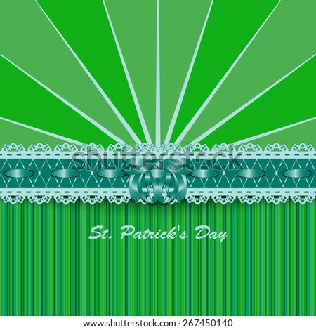 Saint Patricks Day design with lacy green ribbon and bow. Rasterized version. - stock photo