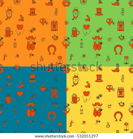 Saint Patricks Day Seamless Pattern. Four Background in Different Colors. . Clean Work Minimum Points