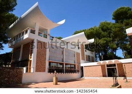 SAINT PAUL DE VENCE, FRANCE-JUNE 13: Foundation Maeght facade shown un june 13, 2013 in Saint Paul de Vence, France. This famous foundation is conceived to represent the modern and contemporary art. - stock photo