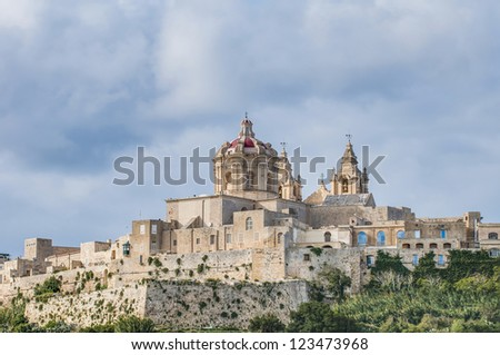 Saint Paul's Cathedral designed by the architect Lorenzo Gafa in Mdina, Malta
