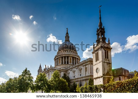 Saint Paul's Cathedral in London on Sunny Day, United Kingdom - stock photo
