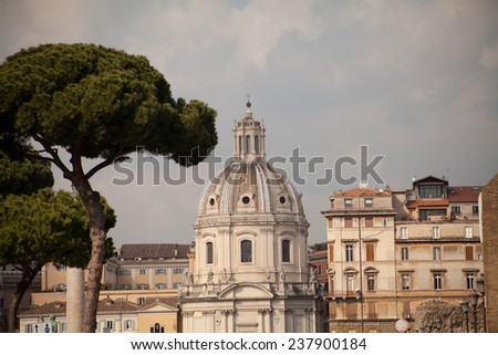 Saint Peter Basilica, typical ancient monuments in Rome, sguare, Vatican City, pope. View  on cupola, dome of Basilica.