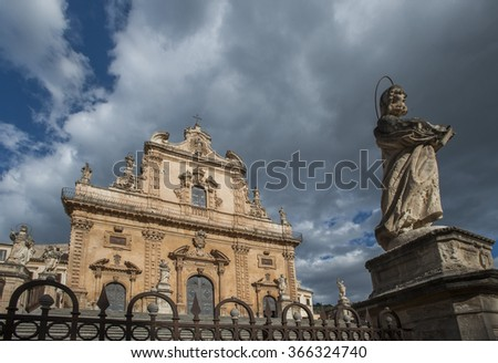 Saint Peter church in the town of Modica, Ragusa, Sicily, Italy