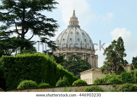 Saint Peter's Basilica and square in Vatican.Rome ITALY