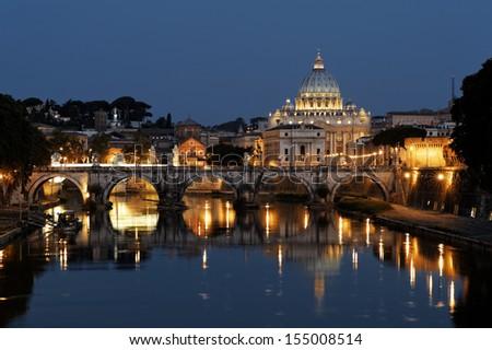 Saint Peter's Basilica at night, Rome - stock photo