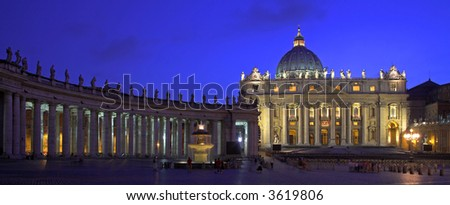 Saint Peter's Square At Dusk, Rome, Italy - stock photo