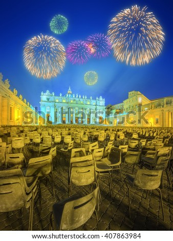 Saint Peter's Square, Piazza San Pietro and Saint Peter's Basilica at night with fireworks in the Vatican City, Rome, Italy - stock photo