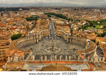 Saint Peter's Square,Vatican, Rome, Italy. HDR image.