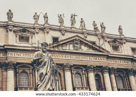 Saint Peter sculpture in Vatican city square in front of basilica, fade effect. / Saint Peter sculpture Vatican city. / Selective focus. - stock photo