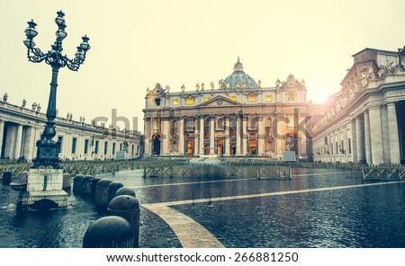 Saint Peter Square and Saint Peter Basilica, Vatican City, Rome, Italy - stock photo