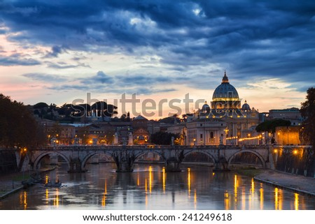Saint Peter under dark clouds, Rome, Italy - stock photo