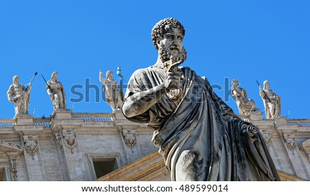 Saint Peter with his keys statue at St. Peter Square in Vatican, Italy